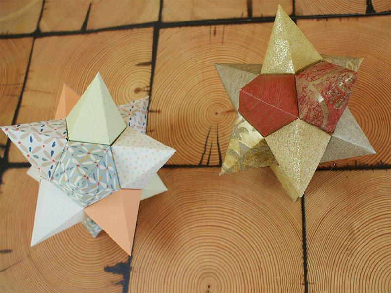 3D-Weihnachtssterne aus Tapeten basteln » DIY-Anleitung