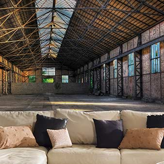 3D Tapete Fabrik Gebäude