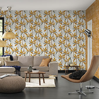 Tapete grau gelb im Muster kombiniert
