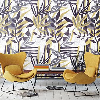 Tapete Muster gelb grau Pflanzen