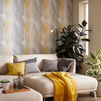 Tapete Muster gelb grau